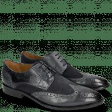 Derby Schuhe Victor 2 Rio Navy Suede Pattini Navy