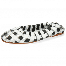 Ballerinas Melly 10 Metallic Nappa Silver Black White Footbed