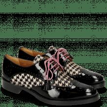 Derby Schuhe Betty 3 Patent Black Hairon Tweed Black White