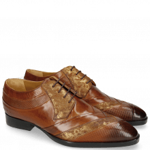 Derby Schuhe Ricky 8 Dice Tan Varadeo Cognac