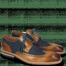 Derby Schuhe Marvin 13 Tan Denim Blue