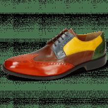 Derby Schuhe Jeff 14 Imola Winter Orange Mink Mock Navy Indy Yellow Harris Green