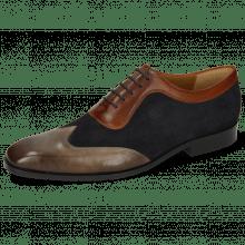 Oxford Schuhe Rico 8 Rio Stone Suede Pattini Perfo Navy Mid Brown