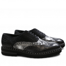 Oxford Schuhe Matthew 6 Big Croco Afix Hair On Black Black Graphite Black Aspen EVA Black Rivets