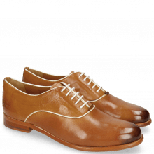 Oxford Schuhe Selina 4 Pisa Tan Binding Patent White