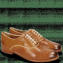 Oxford Schuhe Selina 4 Pisa Tan Binding Patent White