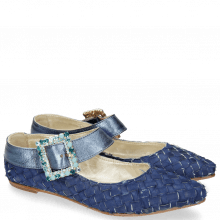 Ballerinas Alexa 1 Satin Navy Silver Blue Buckle
