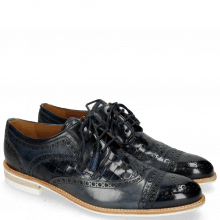 Derby Schuhe Henry 7 Navy Wind Sky Blue Woven