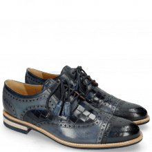 Derby Schuhe Henry 7 Navy Wind Sky Blue Woven Navy