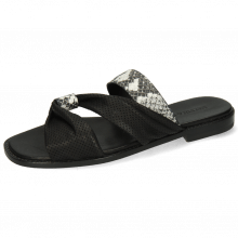 Pantoletten Elodie 41 Snake Black White Nappa Footbed