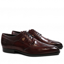 Derby Schuhe Woody 6 Burgundy Embrodery Bee Strap Suede Burgundy