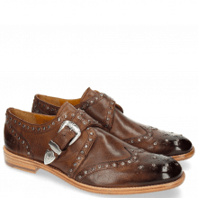Monk Schuhe Eddy 24 Milano Mid Brown Buckle Nickel Rivets Gunmetal