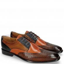 Derby Schuhe Leonardo 20 Baby Croco Wood Orange Navy Taupe