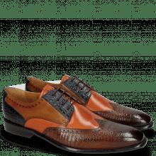 Derby Schuhe Leonardo 20 Baby Croco Wood Orange Navy Taupe
