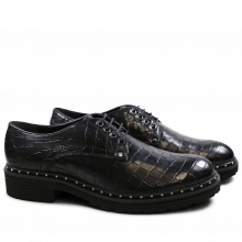 Derby Schuhe Sissy 1 Crock Black Rivets