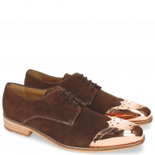 Derby Schuhe Lance 1 MTC Suede Pattini Dark Brown LS Raw