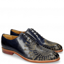 Oxford Schuhe Kane 21 Navy Embrodery Gold