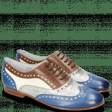 Oxford Schuhe Sonia 1 Vegas Neptune Blue Talca Perfo Silver Mink White
