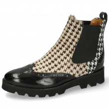 Stiefeletten Selina 29 Black Hairon Tweed Textile Black White