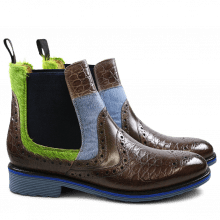 Stiefeletten Amelie 31 Croco Classic Hair On Stone Grey Ice Blue Green Elastic Navy Rook D Jeans EVA Blue