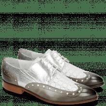 Derby Schuhe Jessy 38 Grigio Nappa Perfo Metal Silver