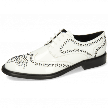 Derby Schuhe Sally 53 Patent White Rivets