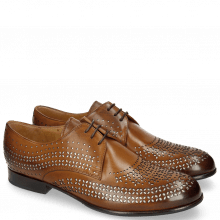 Derby Schuhe Sally 82 Tan Lasercut Feather