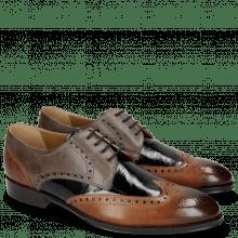 Derby Schuhe Kane 5 Tan Grigio Soft Patent Oriental