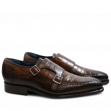 Monk Schuhe Stanley 4 Croco Dark Brown LS