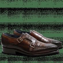 Monk Schuhe Stanley 4 Croco Dark Brown LS
