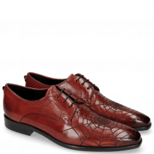 Derby Schuhe Emma 7 Ruby Lasercut Spider Rivets Skull