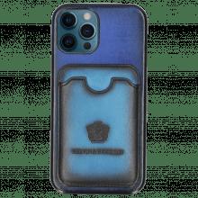 iPhone Hülle Twelve Pro Vegas Electric Blue Wallet Ostrich Blue