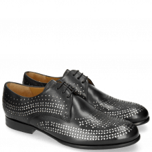 Derby Schuhe Sally 82 Black Lasercut Feather