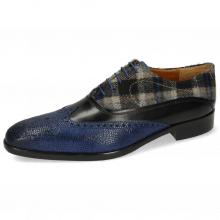 Oxford Schuhe Lewis 4 Python Electric Blue Black Textile Crayon