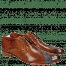 Derby Schuhe Toni 8 Venice Perfo Cognac Moroccan Blue