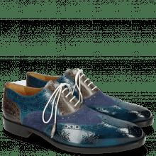 Oxford Schuhe Jeff 28 Suede Pattini Mid Blue Grigio