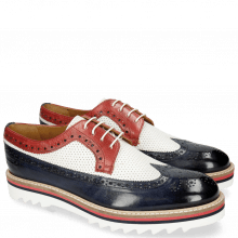 Derby Schuhe Trevor 10 Navy Venice Perfo White Red