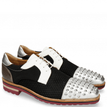 Derby Schuhe Lance 46 Cherso Silver Net Black Milled White