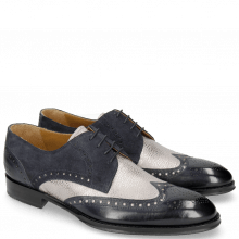 Derby Schuhe Kane 5 Navy Grafi Gunmetal Suede Pattini Navy