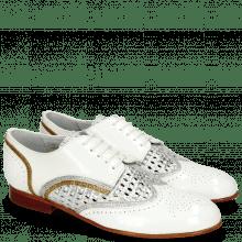 Derby Schuhe Sally 15 Soft Patent White Grafi Silver Navy Woven Lame