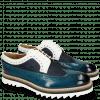 Derby Schuhe Trevor 10 Mid Blue Textile Dots Milled White