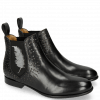 Stiefeletten Sally 83 Black Embrodery Feather Silver