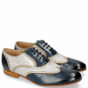 Oxford Schuhe Sally 38 Salerno Navy Light Grey Binding Cappu