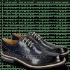 Derby Schuhe Eddy 5 Navy Soft Patent White Punch