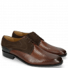 Derby Schuhe Rico 14 Venice Guana Mid Brown Suede Pattini Brown