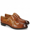 Monk Schuhe Betty 9 Tan Cube Buckle Gold Lining Rich Tan
