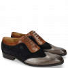 Oxford Schuhe Rico 8 Stone Suede Patinni Navy Rio Mid Brown