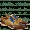 Derby Schuhe Leonardo 20 Baby Croco Wood Perfo Olivine Dice Electric Blue Nude