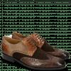 Derby Schuhe Rico 16 Venice Crock Dark Brown Wood Suede Pattini Brown Cognac