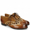 Derby Schuhe Sally 15 Wood Nude Hairon Leo Tobacco Laces Tassel
